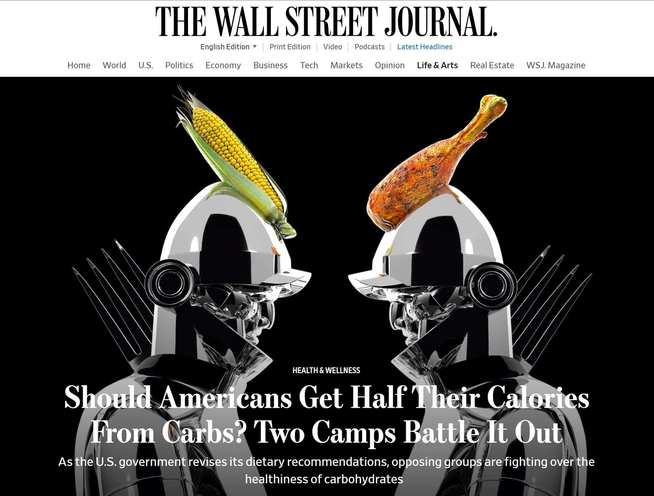Image of Wall Street Journal low-carb online article